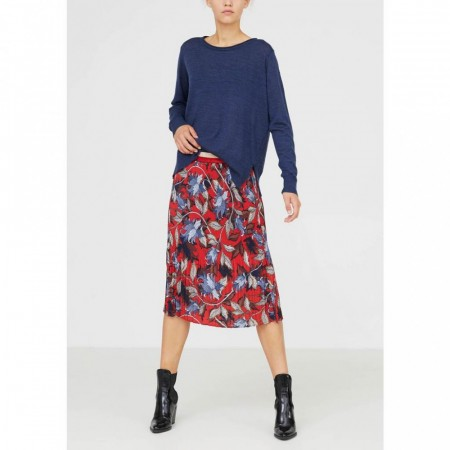 Isay Elanor Pleated Red Skirt